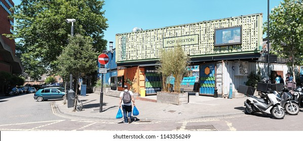 LONDON - JUNE 18, 2018: Facade of Pop Brixton in Pope's Road, Brixton, London. Pop Brixton is a temporary project that has turned disused land into a creative space for local independent businesses.