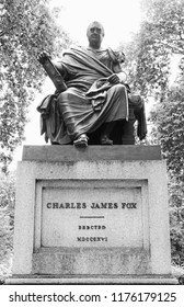 LONDON - JUNE 19, 2018: Statue of Charles James Fox in Bloomsbury Square Garden, Great Russell St, UK. Charles J Fox was a prominent British Whig statesman of the late 18th and early 19th centuries.