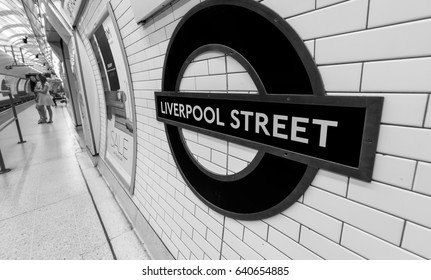 LONDON - JUNE 2015: Liverpool Street station sign on June, 2015 in London, UK. London Underground is the 11th busiest metro system worldwide with more than 1 billion annual rides.