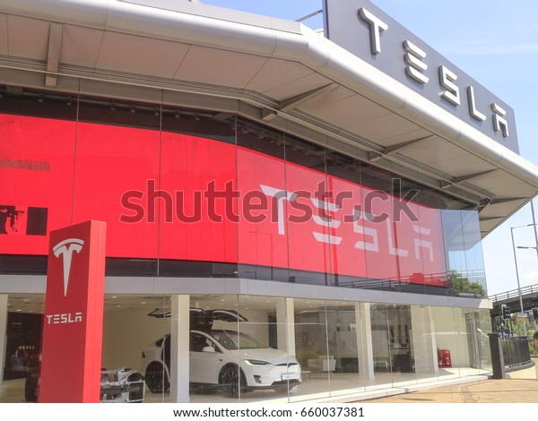London June 2017 New Tesla Showroom Stock Photo (Edit Now
