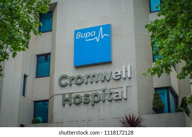 LONDON- JUNE, 2018: Bupa Cromwell Hospital exterior signage. A private sector hospital in South Kensington.