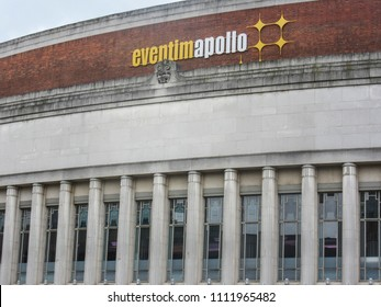 LONDON- JUNE, 2018:  Eventim Apollo exterior signage and logo- also known as Hammersmith Apollo, a large music and event venue in Hammersmith, west London