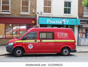 London, June 2018 - A London Fire Brigade Fire Investigation Unit van seen parked in South West London