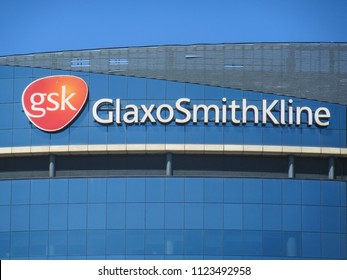 LONDON- JUNE, 2018: The GlaxoSmithKline headquarters building in Brentford, west London. A British global pharmaceuticals company.