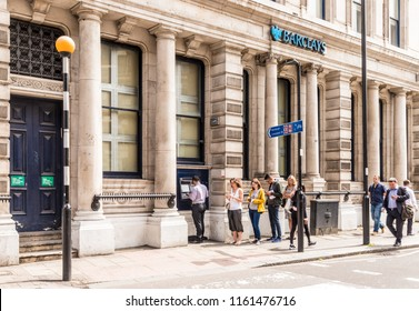 London. June 2018. A view of the barclays in Smithfield in London