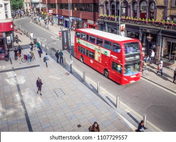 LONDON- JUNE, 2018: View of King Street in Hammersmith, west London. A busy road of retail shops and restaurants in west London