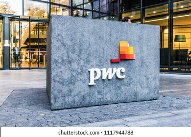 London. June 2018. A view of the sign outside the PWC office by London Bridge in London.
