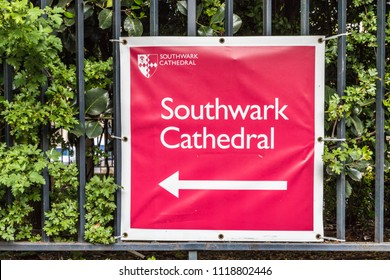 London. June 2018. A view of a sign for Southwark Cthedral in the city of London