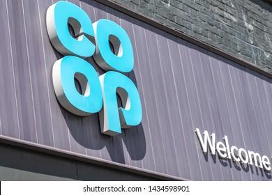 LONDON- JUNE, 2019: Co-op food exterior logo sign. A large British food retailer.