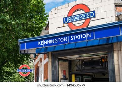 LONDON- JUNE, 2019: Kennington Station, a Northern Line London Underground station on Kennington Park Road in Southwark