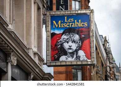 LONDON- JUNE, 2019:  Les Miserables sign, a world famous long running show in London's West End