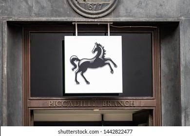 LONDON- JUNE, 2019: Lloyds bank exterior signage on high street branch. A large British high street bank