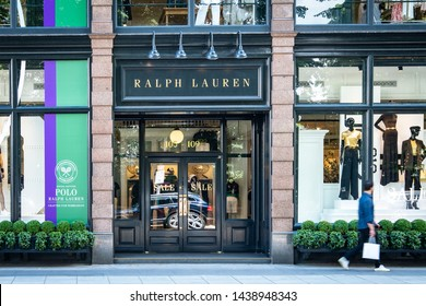 LONDON- JUNE, 2019: Ralph Lauren store front on Fulham Road, an upmarket American designer fashion brand