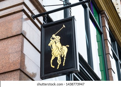LONDON- JUNE, 2019:  Ralph Lauren's famous logo on Fulham Road store front- an upmarket American designer fashion brand