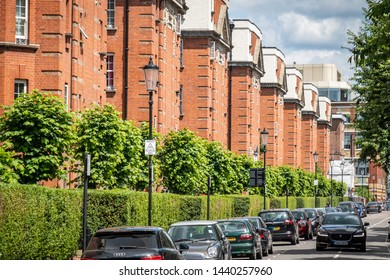LONDON- JUNE, 2019: A street of upmarket houses in Chelsea / Kensington area of South West London