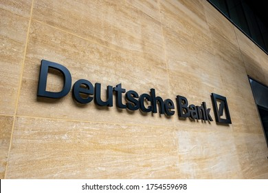 LONDON- JUNE, 2020: Deutsche Bank in the city of London, a large German  global financial service provider