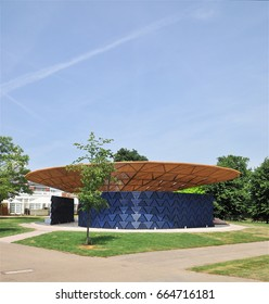 LONDON - JUNE 21, 2017. The 17th temporary Serpentine Gallery annual Summer Pavilion is designed this year by African architect Francis Kere, opening on 23 June in Kensington Gardens, London, UK.