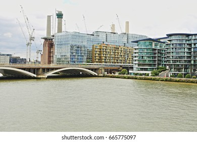 London - June 24, 2017: Nine Elms in Wandsworth is seeing extensive regeneration around a new US Embassy and Battersea Power Station.