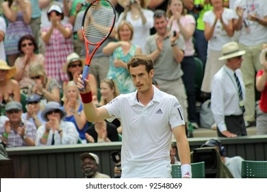 LONDON - JUNE 24: Andy Murray of Scotland celebrates win against Jarkko Nieminen of Finland in second round match at Wimbledon in London, England on June 24, 2010