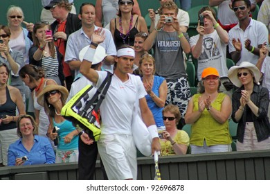 LONDON - JUNE 24: Rafael Nadal of Spain arrives for the second round match against Robin Haase of the Netherlands at Wimbledon in London, England on June 24, 2010