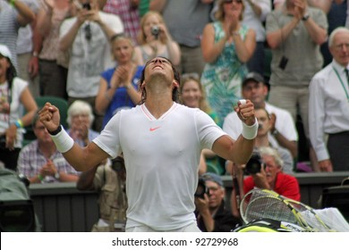 LONDON - JUNE 24: Rafael Nadal of Spain celebrates win against Robin Haase of the Netherlands in second round match at Wimbledon in London, England on June 24, 2010