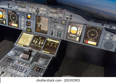 LONDON - JUNE 25 : Airbus A-380-800 flight simulator in London on June 25, 2014