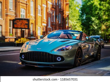 London - June 26, 2018: Aston Martin Vanquish Zagato Volante as seen in Kensington. The Roadster sports car is designed by Zagato and limited to 99 units.
