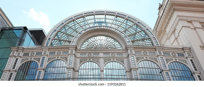 LONDON - JUNE 28, 2018: Facade the Royal Opera House's Paul Hamlyn Hall glass roof in Bow Street, UK. The hall's iron and glass structure is the main public area of the Royal Opera House.