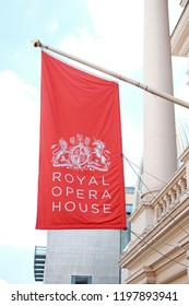 LONDON - JUNE 28, 2018: Facade the Royal Opera House's flag in Bow Street, UK. Royal Opera House established in 1732 is a major performing arts venue in Covent Garden, central London.