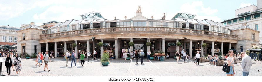LONDON - JUNE 28, 2018: Panoramic view of Covent Garden Market in Covent Garden, London. The market established since 1654 is major tourist attraction in London.
