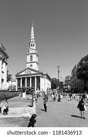 LONDON - JUNE 29, 2018: Facade of St Martins-in-the-Fields Anglican Church in Trafalgar Square, London. The Church completed in 1726 is a UK Grade 1 listed heritage site.