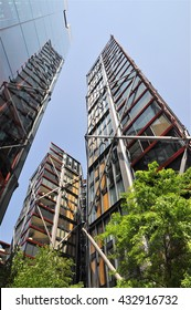 LONDON - JUNE 6, 2016. A prestigious development of apartments designed by Rogers Stirk Harbour + Partners known as NEO Bankside, located near the Tate Modern art gallery in London, UK.