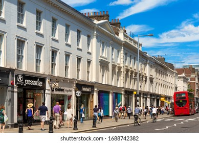 LONDON - JUNE 8, 2014: High street shops on The King's Road, Chelsea