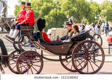 London. June 9 2018. A view of the royal carriage carrying Prince Harry and the new Duchess of Sussex, Meghan Markle, at the trooping of the colour ceremony, during the Queens birthday.