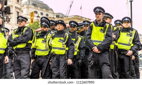 London. June 9 2018. A view of riot police at a demonstration in Trafalger Square.
