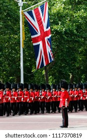 LONDON - JUNE 9: Queen's Soldier at Queen's Birthday Parade on June 9, 2018 in London, UK. Queen's Birthday Parade take place to Celebrate Queen's Official Birthday in every June in London.