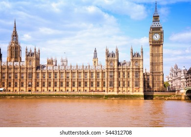London landmark - Big Ben and Palace of Westminster. UNESCO World Heritage Site.