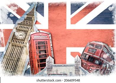 London landmarks, union jack vintage collage