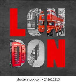 London letters with images on textured black background, selective color red