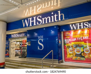 London, Liverpool St station, UK. August 23rd 2020: WHSmith PLC is a British retailer, headquartered in Swindon, Wiltshire, which operates a chain of high street, railway station, and airports.