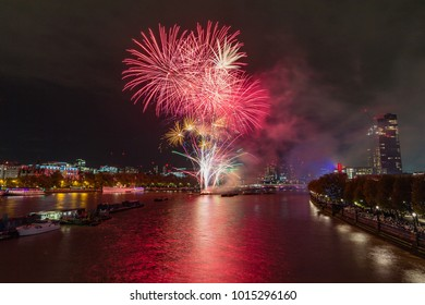 The London Lord Mayors Show fireworks display in 2017. Taking place on the Thames, looking from Waterloo bridge.