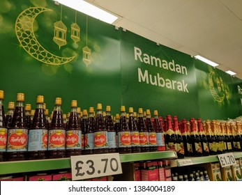 London Luton England UK - 22 April 2019: Huge Ramadan banner and section for halal food in Tesco.