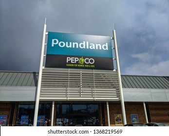 London Luton, United Kingdom - 13 April 2019 - Gypsy Lane Retail Park Luton England Poundland PEP and CO sign board entrance.