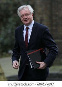 LONDON - MAR 07, 2017: David Davis MP Secretary of State for Exiting the European Union seen arriving in Downing street for a meeting.