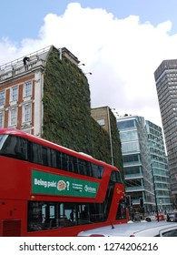LONDON - MAR 09, 2017: London's largest living wall near The Rubens at the Palace Hotel in Victoria The wall will combat flooding