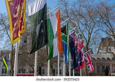 LONDON - MAR 13 : Flags Flying in Parliament Square in London on Mar 13, 2016