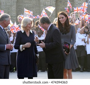 LONDON - MAR 15, 2012: Prince Charles, Camila Duchess Of Cornwall, Catherine Duchess Of Cambridge visit The Prince's Foundation For Children And The Arts on Mar 15, 2012 in London