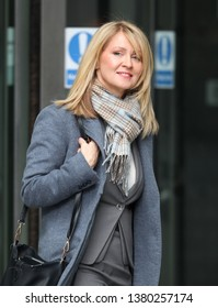 LONDON - MAR 17, 2019: Esther McVey MP seen leaving the BBC Andrew Marr Show at the BBC studios