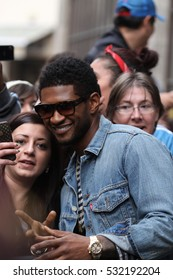 LONDON - MAR 22, 2012: Usher seen leaving the BBC radio one studios on Mar 22, 2012 in London
