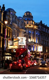 LONDON - MAR 26: Night View of Shaftesbury Avenue, was built in the late 19th century, now it is considered heart of London's West End theatre district, on Mar 26, 2016, London; UK.